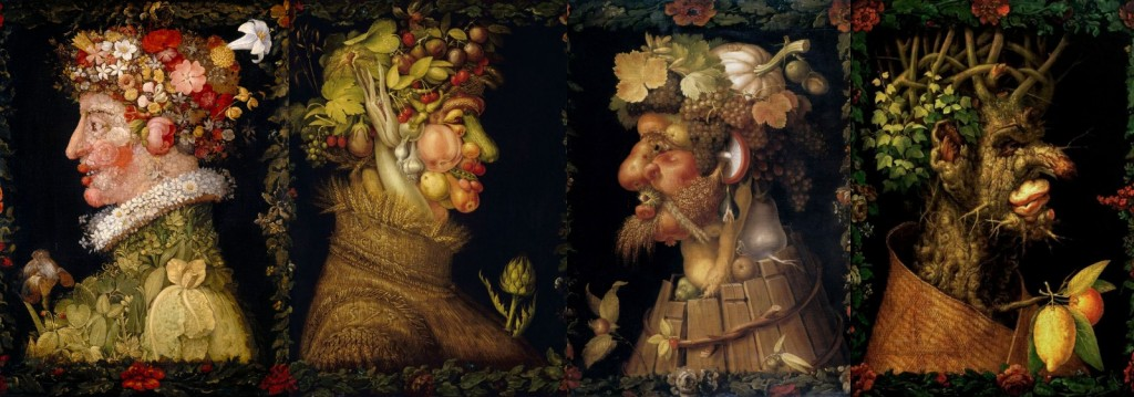 Giuseppe Arcimboldo - Quattro Stagioni 1563, Olio su tavola, 6x50 cm. Museo del Louvre, Parigi