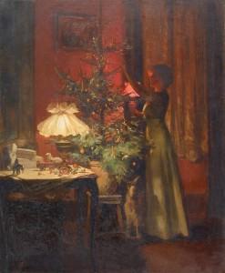 Ragazza che decora l'albero di Natale (1898)  di Rieder Marcel