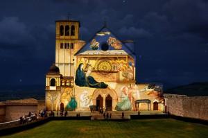 proiezione della natività sulla Basilica di san Francesco