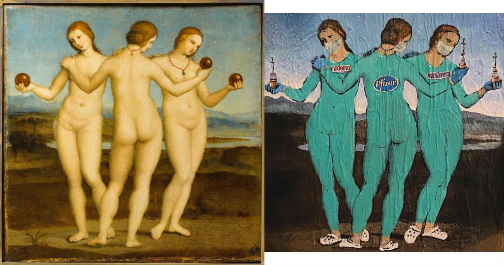 Raffaello Sanzio, Tre Grazie,  1503-1504, olio su tavola, 17x17 cm Museo Condé, Chantilly (Francia)Tvboy, The Three Vaccines, 2021, Barcellona