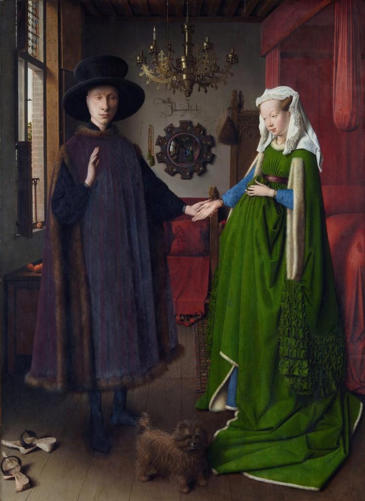 Jan van Eyck, Ritratto dei coniugi Arnolfini, 1434, olio su tavola, 81,8 x 59,4 cm, National Gallery, Londra