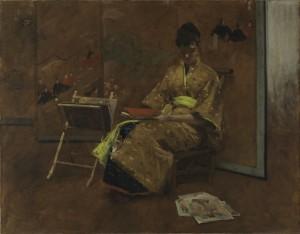 William Merriott Chase, Giovane con vestito giapponese. Il Kimono, 1887, olio su tela